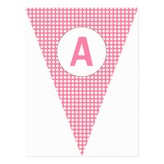 Fun Polkadot Pink Customizable Flag Bunting Postcard
