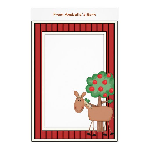 Fun Pony Apple Tree Barn Frame Kids Writing Paper Personalized Stationery