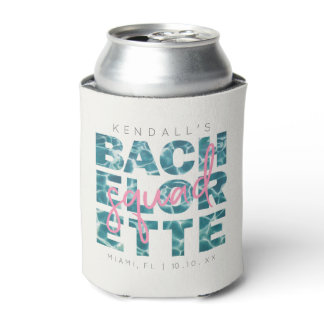 Fun Pool and Tropical Bachelorette Squad Theme Can Cooler