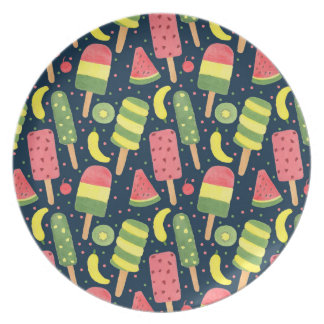 Fun Popsicle Pattern Party Plate