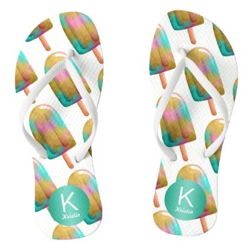 Beach Themed Fun Popsicle Pattern with Your Monogram Flip Flops