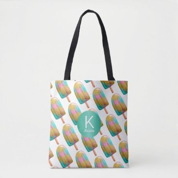 Beach Themed Fun Popsicle Pattern with Your Monogram Tote Bag