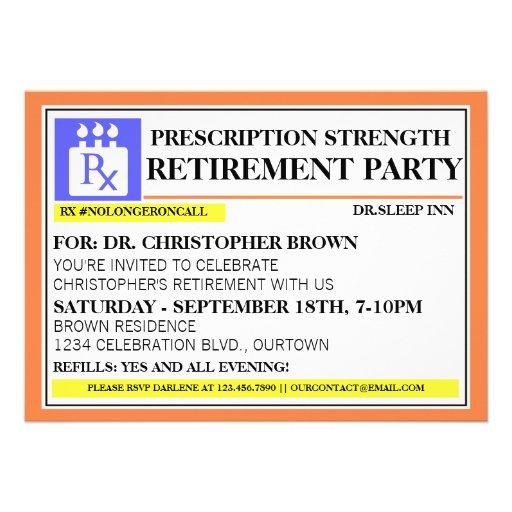 Fun Prescription Label Retirement Invitations 5 Quot X 7 Quot Invitation Card Zazzle