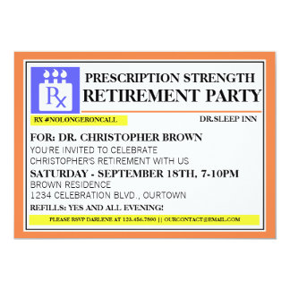 Fun Prescription Label Retirement Invitations