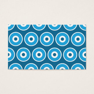 Fun Pretty Blue Concentric Circles Pattern Business Card