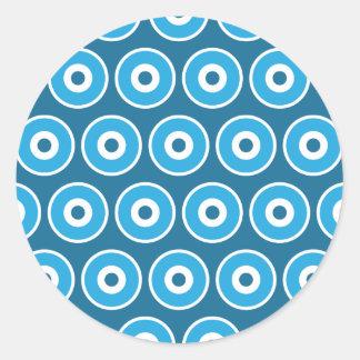 Fun Pretty Blue Concentric Circles Pattern Classic Round Sticker