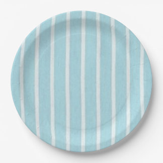 """Fun Prints""  Baby Blue-Oxford-Stripe Paper Plate"