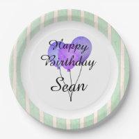 """Fun Prints""_Balloons-Party-Monogram-Birthdays Paper Plate"