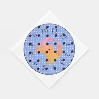 FUN-PRINT'S-CRAB-CLOCK-BUBBLE-S--NAPKIN-DECOR PAPER NAPKIN