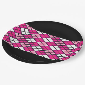 """Fun Prints"" Hot Pink Argyle Paper Plate"