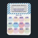 """Fun &amp; Professional Business 2018 Calendar Magnet<br><div class=""""desc"""">A fun,  professional and practical magnet that your clients will love.  The months are displayed in fun circles.  The top has your business and contact info.</div>"""