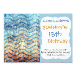 Fun Psychedelic Blue and Gold Wave Pattern Card