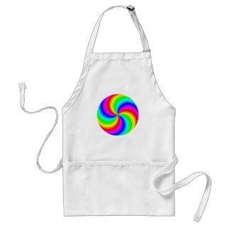 Fun psychedelic bright rainbow swirl pinwheel adult apron