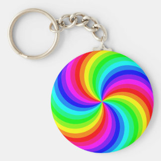 Fun psychedelic bright rainbow swirl pinwheel basic round button keychain
