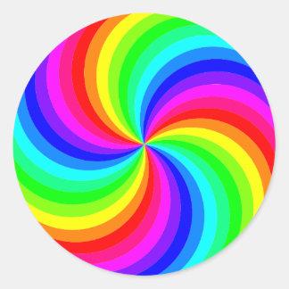 Fun psychedelic bright rainbow swirl pinwheel round sticker