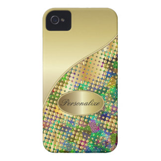 Fun Psychedelic with a Splatter of Gold Dots iPhone 4 Case