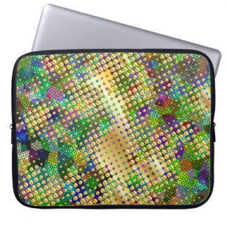 Fun Psychedelic with a Splatter of Gold Dots Laptop Sleeve