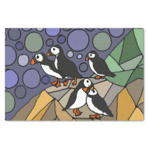 Fun Puffin Birds Abstract Tissue Paper