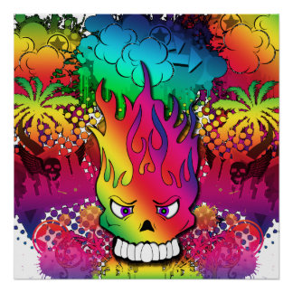 Fun Punk Skull Grunge Poster Colorful