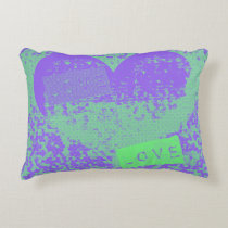 Fun Purple and Mint Retro Heart Design Accent Pillow