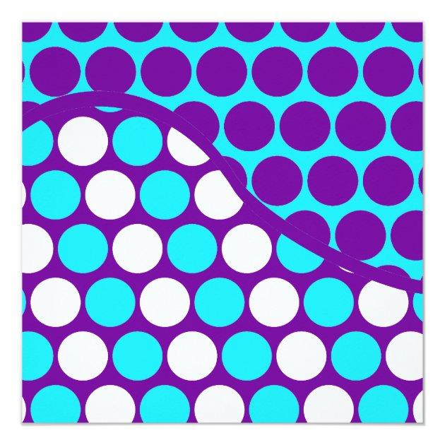 Fun Purple and Teal Polka Dot Wave Pattern Card | Zazzle