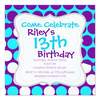 Fun Purple and Teal Polka Dot Wave Pattern 5.25x5.25 Square Paper Invitation Card
