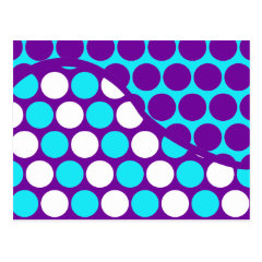 Fun Purple and Teal Polka Dot Wave Pattern Postcards