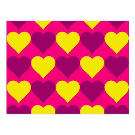 Fun Purple and Yellow Hearts on Hot Pink Postcard