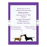 "Fun Purple Dachshunds Bridal Shower Invitation 5"" X 7"" Invitation Card"
