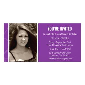 Fun Purple Design Birthday Photo Card Invitations