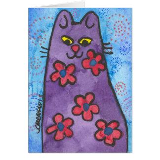 Fun Purple Flowered Cat Card