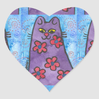 Fun Purple Flowered Cat Heart Sticker