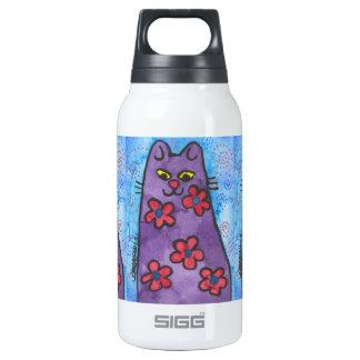 Fun Purple Flowered Cat Insulated Water Bottle