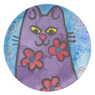 Fun Purple Flowered Cat Dinner Plates