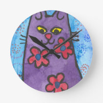Fun Purple Flowered Cat Round Clock