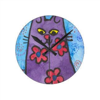 Fun Purple Flowered Cat Round Clock