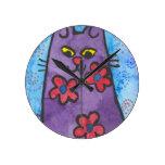 Fun Purple Flowered Cat Round Wall Clocks