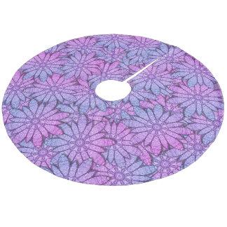 Fun Purple Flowers Fleece Tree Skirt