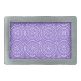 Fun Purple Geometric Floral Rectangular Belt Buckle