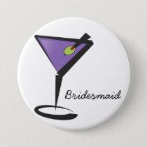 fun purple martini pinback button