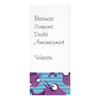 Fun Purple Monsters Creatures Blue Gifts for Kids Rack Card