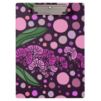 Fun Purple Orchids Blossoms Abstract Art Clipboard