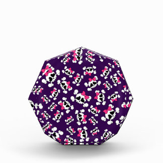 Fun purple skulls and bows pattern acrylic award