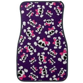 Fun purple skulls and bows pattern floor mat