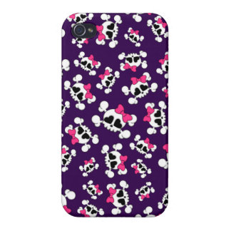 Fun purple skulls and bows pattern iPhone 4 case
