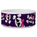 Fun purple skulls and bows pattern pet water bowl