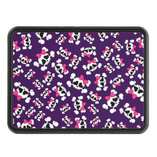 Fun purple skulls and bows pattern tow hitch cover