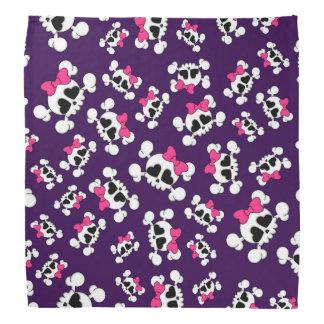 Fun purple skulls and bows pattern bandanas