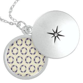 Fun Purple White Circle Life Preservers Pattern Personalized Necklace
