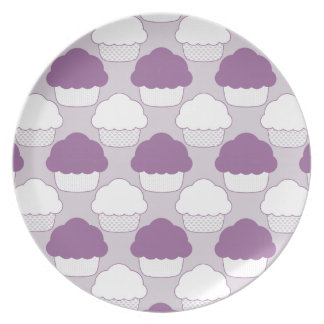Fun Purple White Cupcakes Pattern Melamine Plates